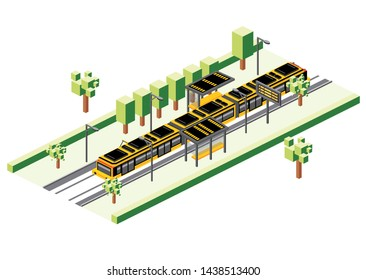 Isometric Tram Station Isolated on White. Railway Electric Train. City Scene with Road and Green Tree.