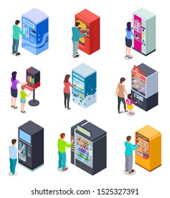 Isometric vending machine and people. Customers buy snacks, soda drinks and tickets in vending machines. 3d icons