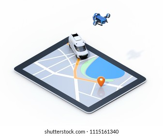 Isometric view of delivery drone and van on digital tablet computer. White background. Last one mile digital solution concept.
