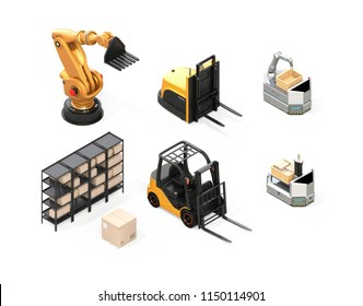 Isometric view of electric forklift, autonomous forklift, AGV, industrial robot isolated on white background. 3D rendering image.