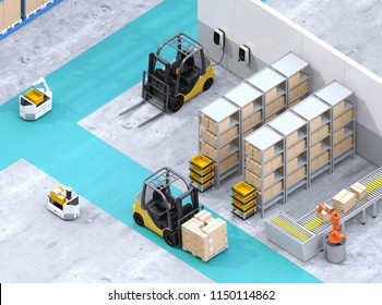Isometric view of electric forklifts and AGV robots in modern distribution center. 3D rendering image.
