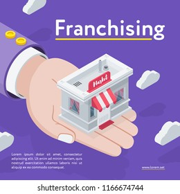 Isometric view of hand holding market on Franchising banner on purple background.