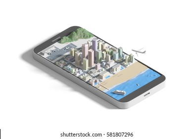 Isometric view low poly Mobile Smartphone with city map. 3D illustration