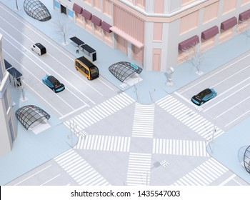 Isometric view of modern city intersection. Autonomous bus driving in bus stop. Self driving sedan and minivan on the road. 3D rendering image.