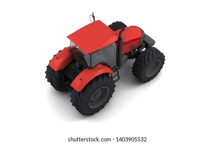 Isometric view on red agricultural wheel tracktor isolated on white background. Rear side view. Perspective. Right side. High angle view. 3D render.