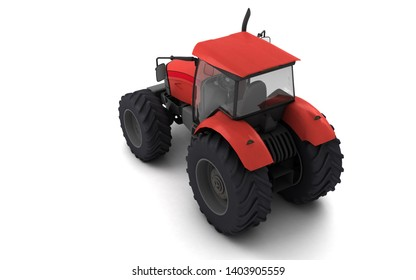 Isometric view on red agricultural wheel tracktor isolated on white background. Rear side view. Perspective. Left side. High angle view. 3D render.