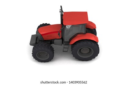 Isometric view on red agricultural wheel tracktor isolated on white background. Side view. Left side. High angle view. 3D render.