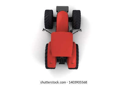 Isometric view on red agricultural wheel tracktor isolated on white background. Top view. Directly above. Rear view. High angle view. 3D render.