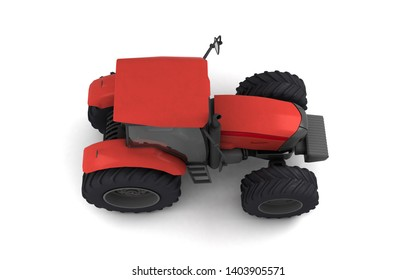 Isometric view on red agricultural wheel tracktor isolated on white background. Top view. Side view. Right side. High angle view. 3D render.