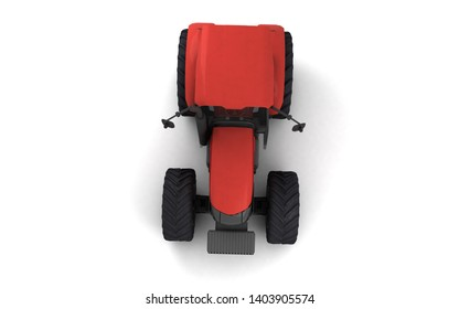 Isometric view on red agricultural wheel tracktor isolated on white background. Top view. Directly above. Front view. High angle view. 3D render.