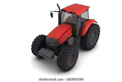Isometric view on red agricultural wheel tracktor isolated on white background. Front side view. Perspective. Left side. High angle view. 3D render.
