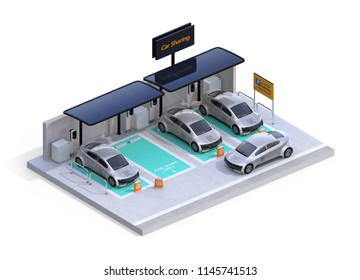 Isometric view of parking lot equipped with charging stations and solar panels. Car sharing concept. White background. 3D rendering image.