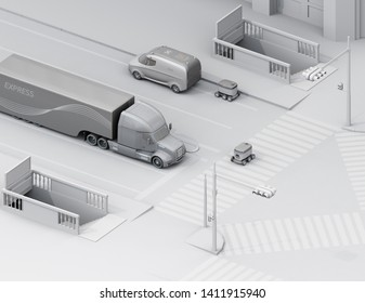 Isometric view of self-driving delivery robot crossing the road with a pedestrian crossing. Clay rendering with soft texturing. 3D rendering image.