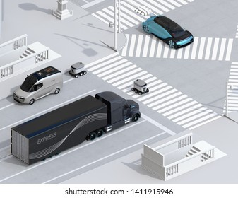 Isometric view of self-driving delivery robot crossing the road with a pedestrian crossing. 3D rendering image.