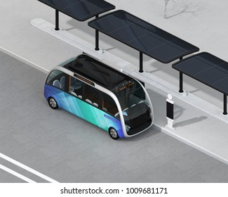 Isometric view of self-driving shuttle bus waiting at bus station. The bus station equipped with solar panels for electric power. 3D rendering image.