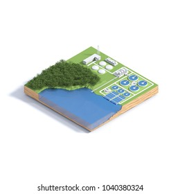 Isometric view wastewater treatment plant concept. 3D illustration