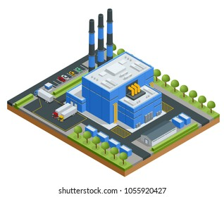 Isometric Waste Processing Plant. Technological process. Truck transporting trash to recycling plant. Production new goods from recicled materials