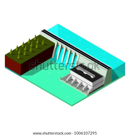 isometric water power station hydroelectric power stock illustrationisometric water power station hydroelectric power plant 3d dam produces electricity concept of renewable energy illustration