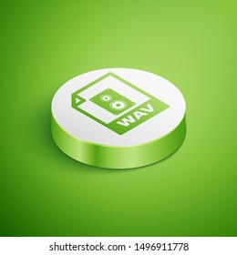 Isometric WAV file document icon. Download wav button icon isolated on green background. WAV waveform audio file format for digital audio riff files. White circle button