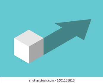 Isometric white cube casting arrow shaped drop shadow. Crisis, challenge, development, opportunity and growth concept. Flat design. 3d illustration. Raster copy