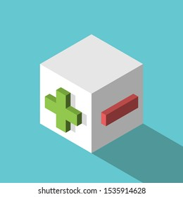 Isometric white cube with green plus and red minus signs. Advantages and disadvantages, unity of opposites, point of view concept. Flat design. 3d illustration. Raster copy