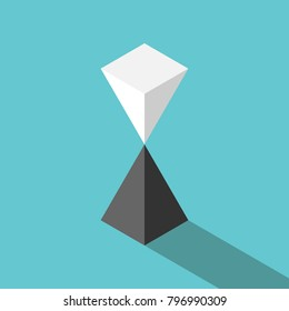 Isometric white pyramid standing on black one in unstable equilibrium. Balance, risk, finance, harmony and relationship concept. Flat design