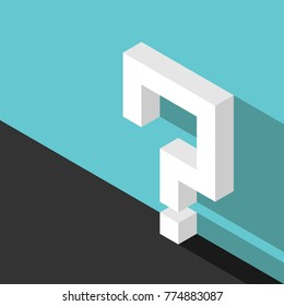 Isometric white question mark with long shadow beside turquoise blue wall on black floor. Doubt, problem, help, challenge and confusion concept. Flat design