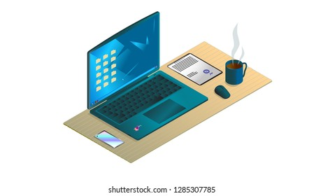 An isometric working table with a laptop, a phone, a mouse, a document and a cup of coffee on it.