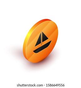 Isometric Yacht sailboat or sailing ship icon isolated on white background. Sail boat marine cruise travel. Orange circle button.