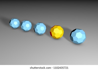 Isometric yellow unique buckyball in row of many ones on black-and-white background. Uniqueness, difference, individuality and loneliness concept. Technology background. 3d illustration