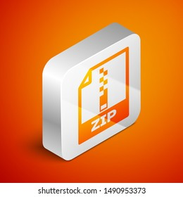 Isometric ZIP file document icon. Download zip button icon isolated on orange background. ZIP file symbol. Silver square button