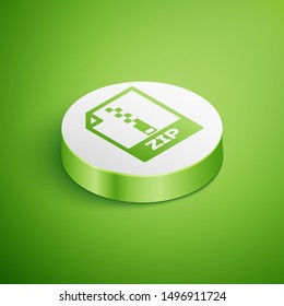 Isometric ZIP file document icon. Download zip button icon isolated on green background. ZIP file symbol. White circle button