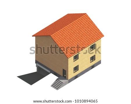 Isometrics House On Isolated Background 3 D Stock