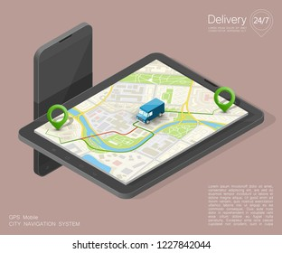 isometry City map navigation route, phone point delivery van, isometric schema itinerary delivery car, city plan GPS navigation, itinerary destination arrow city map. Route delivery truck check point