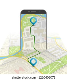 Isometry City map route navigation smartphone, phone point marker, road drawing schema, isometric city plan GPS navigation tab, itinerary destination arrow paper city map. Route isometric check point