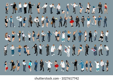 Isometry design large set of businessmen and business ladies. 3d lawyers economists presidents bank employees and entrepreneurs with different gestures and emotions.