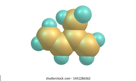 Isoprene or 2-methyl-1,3-butadiene is a common organic compound. 3d illustration