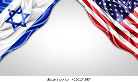 Israel and American flag of silk with copyspace for your text or images and white background -3D illustration