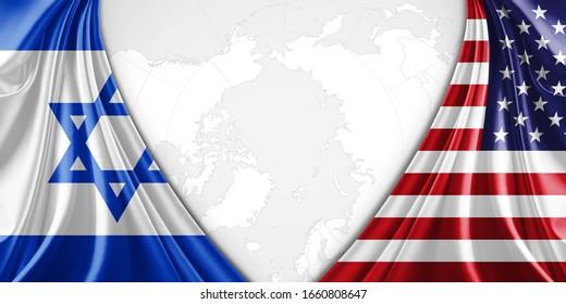 Israel und die amerikanische Flagge mit Kopienraum für Ihren Text oder Ihre Bilder und Hintergrund-3D-Illustration