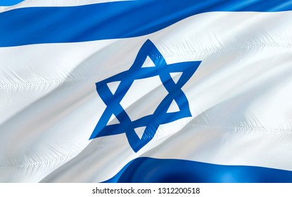 Israel flag. 3D Waving flag design. The national symbol of Israel, 3D rendering. National colors and National flag of Israel for a background. Middle East sign on smooth silk