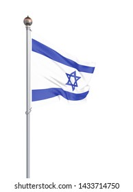 Israel flag blowing in the wind. Background texture. 3d rendering, wave. - Illustration. Isolated on white.