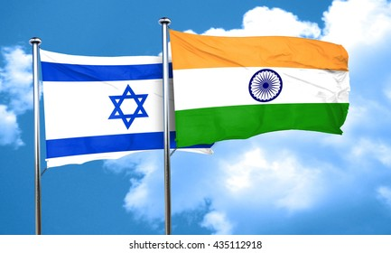 Israel flag with India flag, 3D rendering