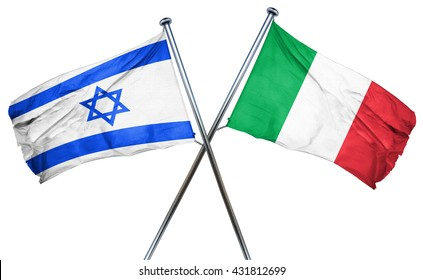 Israel flag with Italy flag, 3D rendering