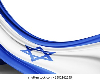 Israel   flag of silk with copyspace for your text or images and white background-3D illustration