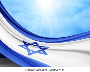 Israel   flag of silk with copyspace for your text or images and sky background-3D illustration