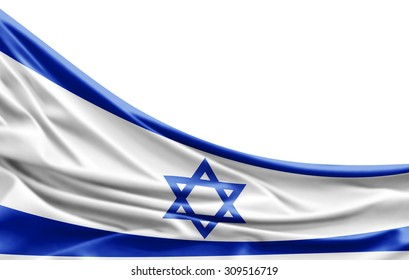 Israel flag of silk with copyspace for your text or images and white background
