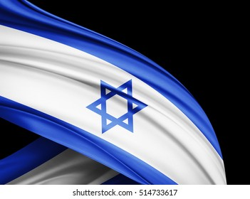 Israel  flag of silk with copyspace for your text or images and black  background -3D illustration