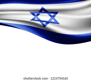 Israel  flag of silk and white background-3D illustration