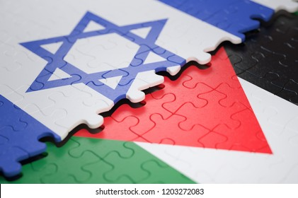 Israel flag versus Palestine flag, on puzzle pieces in concept of border conflict. 3D illustration.