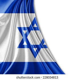 Israel flag and white background